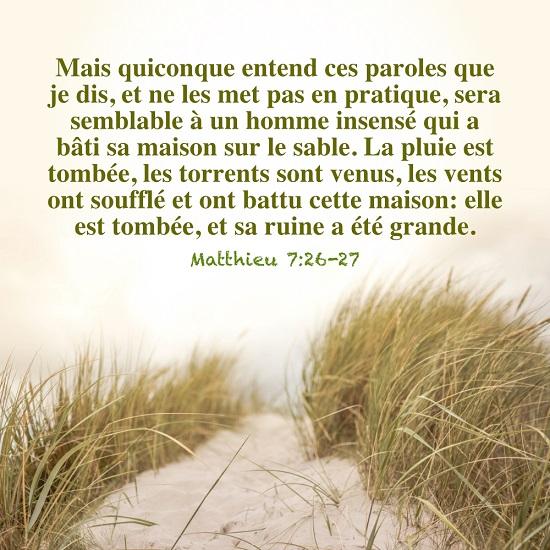 Évangile du jour – Matthieu 7:26-27