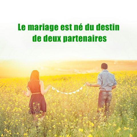 Le mariage est né du destin de deux partenaires – Image Évangile