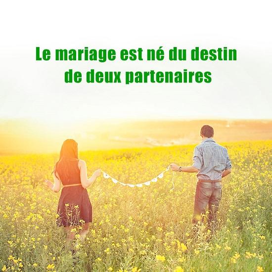 Le mariage est né du destin de deux partenaires