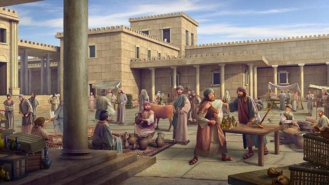Le temple est devenu un lieu de commerce