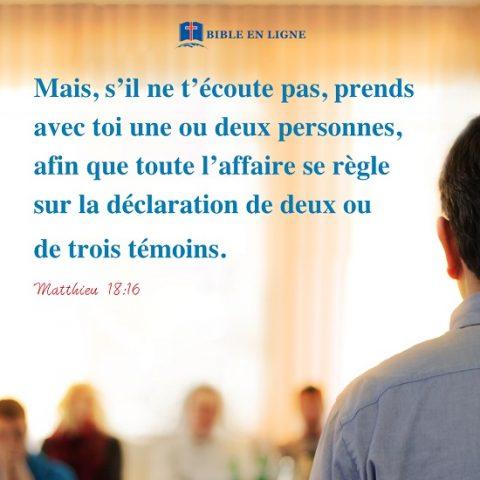 Évangile du jour – Matthieu 18:16