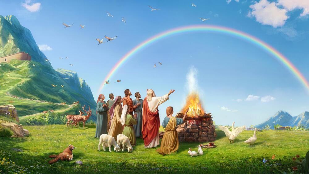 Dieu fait un arc-en-ciel comme symbole de Son alliance avec l'homme