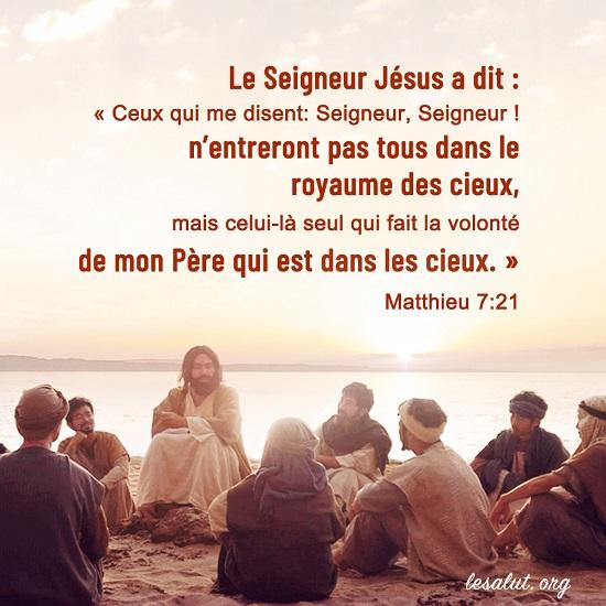 Évangile du jour – Seuls ceux qui accomplissent la volonté du Père peuvent entrer dans le royaume des cieux
