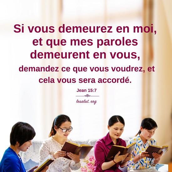 Évangile du jour – Vivre dans la parole de Dieu, c'est demeurer en Christ