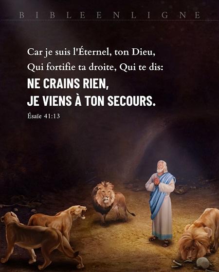 Ésaïe 41:13 Car je suis l'Éternel, ton Dieu, Qui fortifie ta droite, Qui te dis Ne crains rien, Je viens à ton secours.