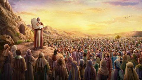 Dieu émet les dix commandements par Moïse