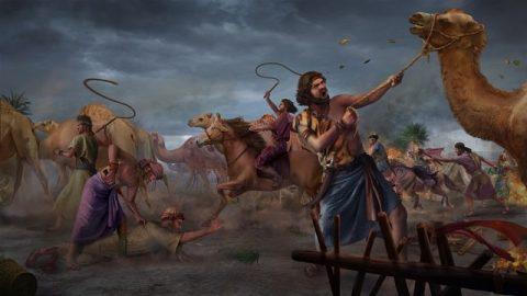Satan tente Job pour la première fois (son bétail est volé et la calamité frappe ses enfants)
