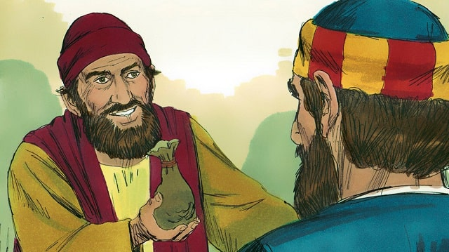 Simon vit que le Saint Esprit était donné par l'imposition des mains des apôtres, il leur offrit de l'argent,
