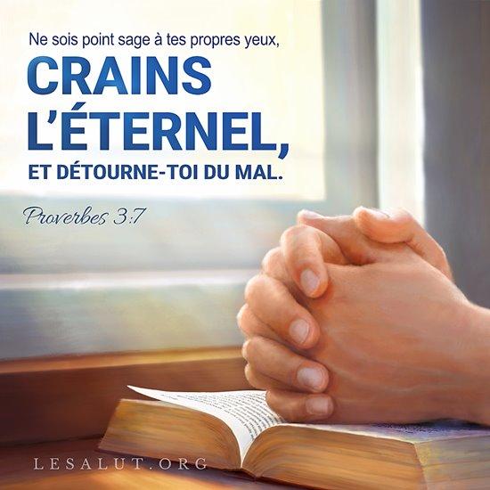 Ne sois point sage à tes propres yeux, Crains l'Éternel, et détourne-toi du mal. — Proverbes 3:7